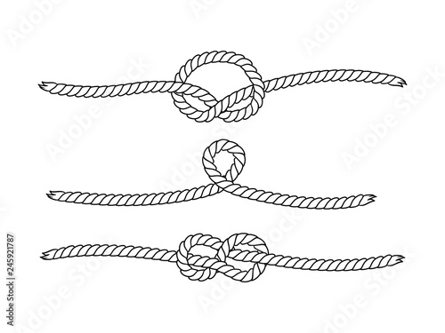 Obraz Black and white marine knots twine rope seamless pattern, vector - fototapety do salonu