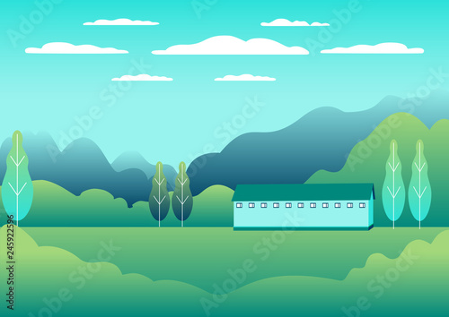 Poster Groene koraal Rural design. Village landscape in flat style. Countryside landscape. Beautiful green fields, meadow, mountains and blue sky. Rural location in the hill, forest, trees, background cartoon vector