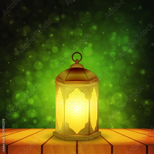 Islamic Lantern On Wooden Table And Emerald Night Background