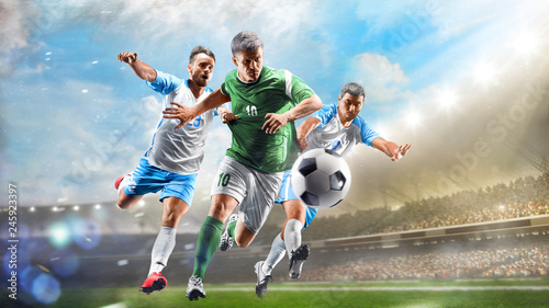 Soccer players in action on the day grand stadium background panorama Wallpaper Mural