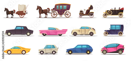 Foto op Canvas Cartoon cars Old Modern Ground Transportation Set