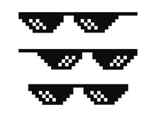 Vector Pixel Glasses Known As Thug Life Symbol
