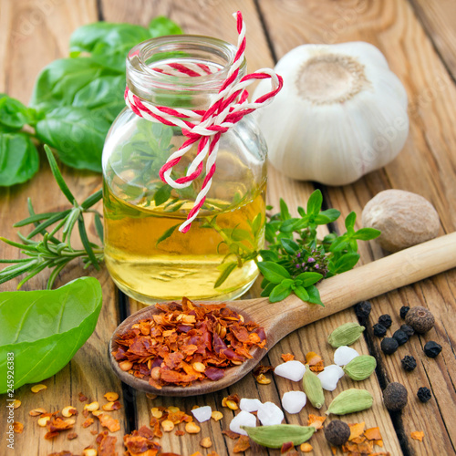 Tuinposter Kruiderij Selection of spices and oil
