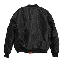 Blank Pilot Bomber Jacket Black Color Back View On White Background