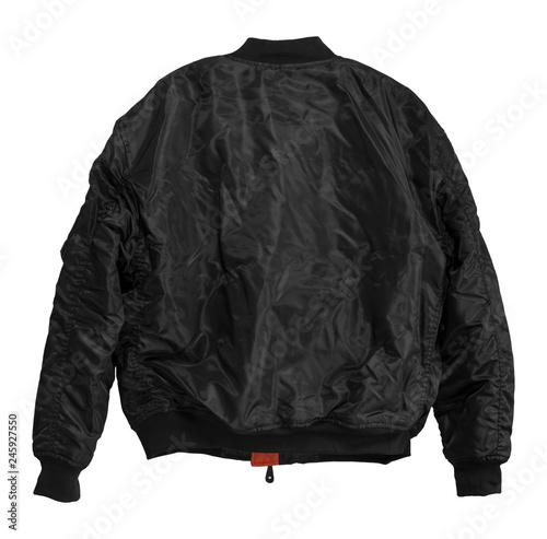 Canvas Print Blank Pilot bomber jacket black color back view on white background