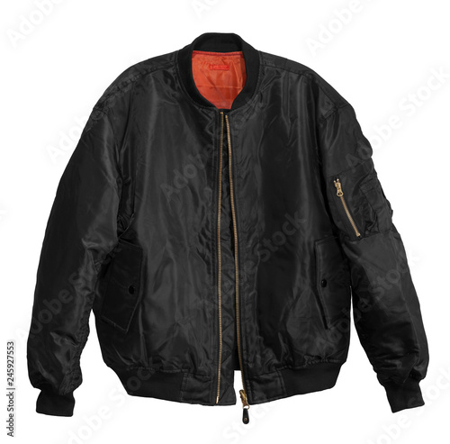 Blank Pilot bomber jacket black color front view on white background Canvas Print