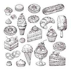 Skiciraj desert. Torta, pecivo i sladoled, savijača od jabuka i muffin u stilu vintage gravure. Ručno nacrtani voćni deserti vektorski set. Ilustracija torte s kremom, skica za desert, slatko od tijesta