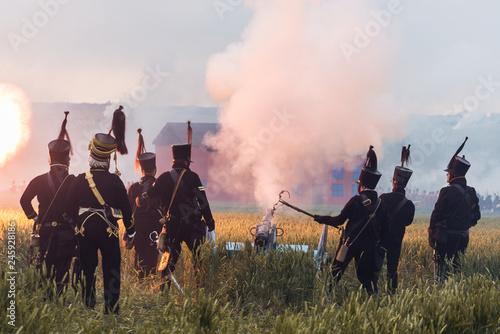 Fotografia Waterloo Reenactment Schlachtfeld Kanone