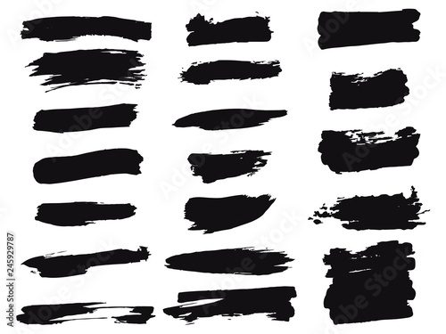 Fototapety, obrazy: Brushes Set Hand Draw - Black Grunge Brush Set - Monochrome Collection Of Design Elements - Vector EPS 10.