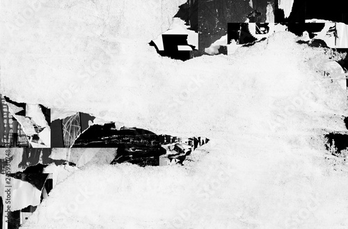 Fotografía Blank white creased crumpled paper texture background old grunge ripped torn vin