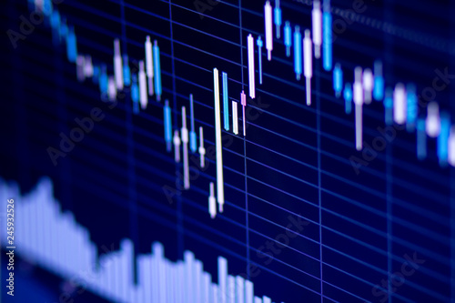 Forex market chart background, trading on currency stock Forex. Canvas-taulu