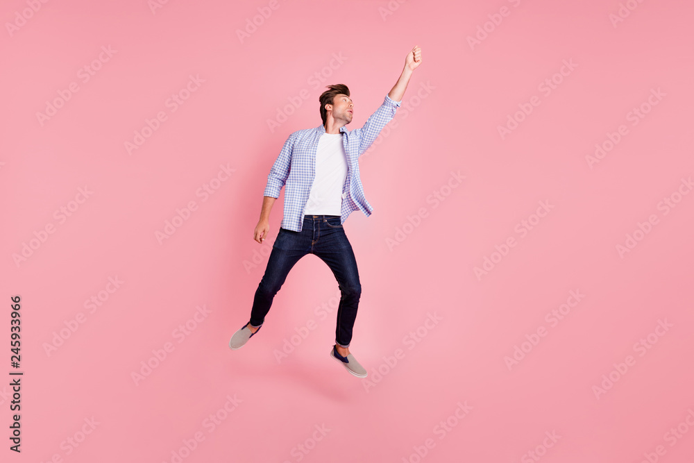 Fototapety, obrazy: Full length body size photo of jumping high crazy he his him handsome holding umbrella in arm unbelievable flight wearing casual jeans checkered plaid shirt isolated on rose background