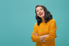 Woman On Teal Background