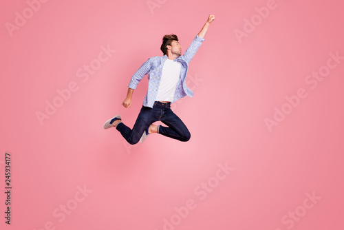 Fotografía  Full length body size photo of jumping high he his him I save world handsome fli