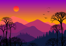 Abstract Mountain Forest On Bright Sky Landscape With Tree Silhouettes. Vector Illustration. Travel Poster