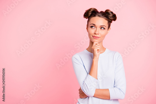 Foto auf Leinwand Akt Portrait of nice-looking cute fascinating attractive winsome lovely sweet pensive girl creating idea copy space isolated over pink pastel background
