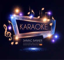 Shining Karaoke Party Banner With Golden Notes.