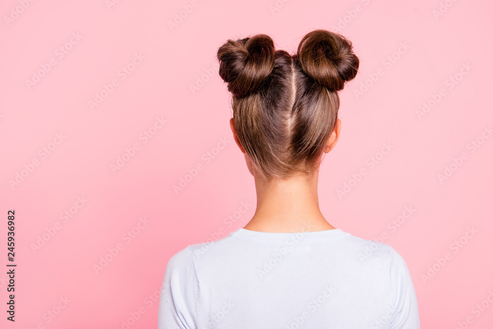 Fototapeta Rear back behind view of nice attractive groomed girl wearing two fashionable buns isolated over pink pastel background