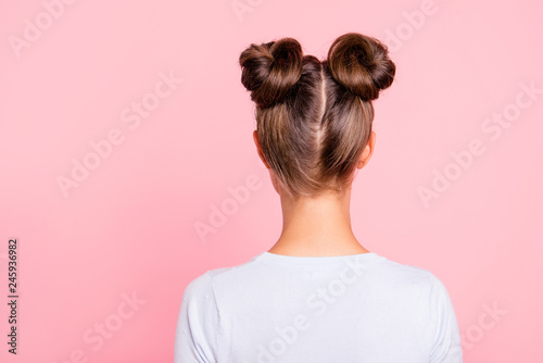 Rear back behind view of nice attractive groomed girl wearing two fashionable bu Fototapet