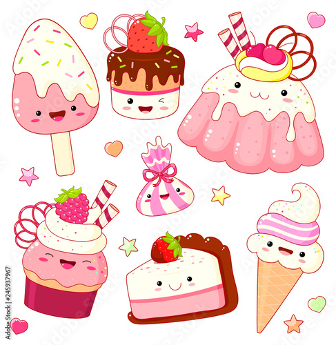 Set of cute sweet icons in kawaii style - 245937967