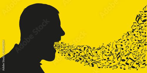 Photo Concept de la musique et du chant avec des notes de musiques qui sortent de la bouche d'un homme dont on voit la silhouette de la tête de profil