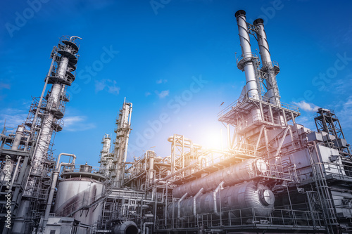 Fotografia, Obraz  Industrial furnace and heat exchanger cracking hydrocarbons in factory on blue s