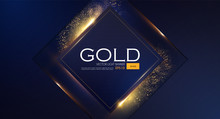 Abstract Overlapping Geometric Background With Gold Glitter Effect.