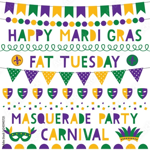 Mardi Gras decoration and lettering set Wallpaper Mural