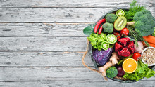 Fresh Vegetables And Fruits In...