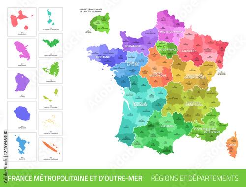 Carte des Départements et des Régions de France Fotomurales