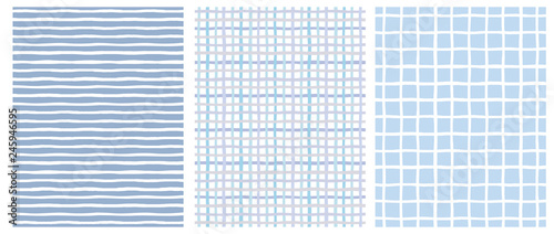 fototapeta na ścianę Set of 3 Hand Drawn Irregular Geometric Patterns. Horizontal White Stripes on a Blue Background. Blue and Beige Grid on a White. White Grid on a Blue. Cute Infantile Repeatable Design.