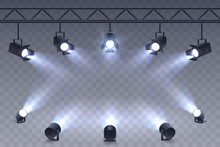 Realistic Spotlights Isolated ...