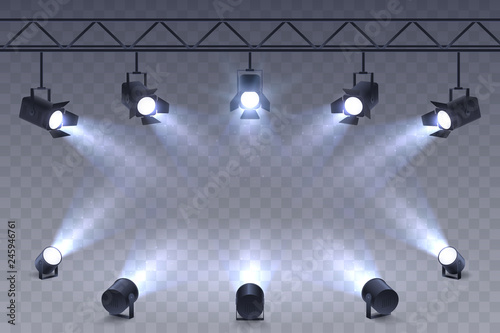 Poster Licht, schaduw Realistic Spotlights isolated on transparent background. Scene illumination. Suspended and standing lighting. Elements for photo studio, show, scene. Vector illustration.