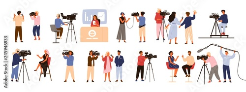 Collection of journalists, talk show hosts interviewing people, news presenters and cameramen or videographers with cameras isolated on white background Canvas-taulu