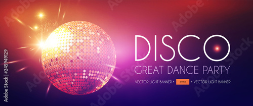 Disco Party Flyer Templatr with Mirror Ball and Light Effects. - 245949129