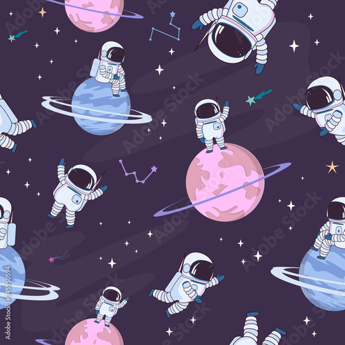 Fototapeten Künstlich Sweet space seamless pattern with fantasy chocolate cookie, candy, donut, caramel sweets planets and astronaut. Editable vector illustration
