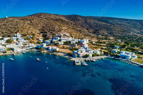 Photo Aerial view of Katapola vilage, Amorgos island, Cyclades, Aegean, Greece