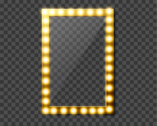Makeup Mirror Isolated With Gold Lights. Vector Illustration