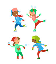 Children Christmas Winter Vacations Holidays Set Vector. Kids Playing Snowball Fight Together, Child Wearing Warm Clothes On Skating Rink. Fun Infants