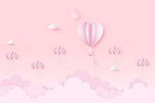 Paper Art , Cut And Digital Craft Style Of The Lover In Hot Air Heart Balloon On Pink Sky And Full Moon As Love, Happy Valentine's Day And Wedding Concept. Vector Illustration.