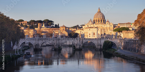 Fotobehang Centraal Europa Tiber and St Peter Basilica in Vatican, sunrise time