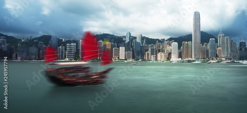 Foto op Canvas Aziatische Plekken Hong Kong harbour, long exposition