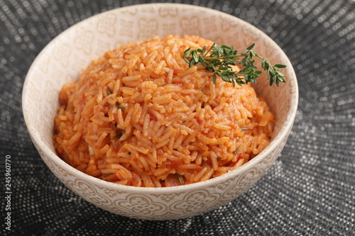 Photo sur Aluminium Assortiment Nigerian Jollof Rice