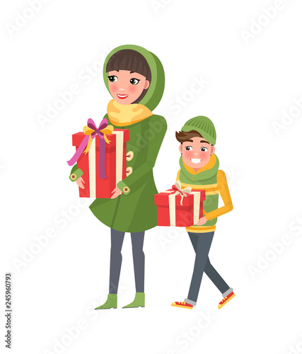 Mother Christmas Cartoon.Christmas Shopping People Customers In Cartoon Style