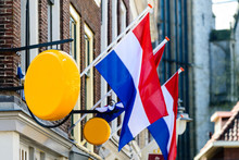 Flag Of The Netherlands Waving On The Building