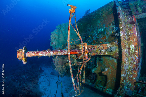 Photo Stands Shipwreck A large, underwater shipwreck in a tropical blue ocean