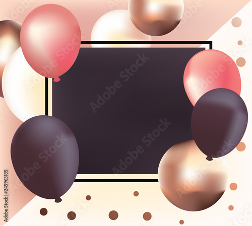 Elegant Background With Realistic Glossy Metallic Balloons
