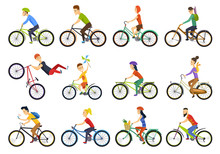 Group Of Tiny People Riding Bikes On City. Bike Types And Cycling Sign Set. Man, Woman, Kids. Thin Line Art Icons. Flat Style Illustrations Isolated On White. - Vector.