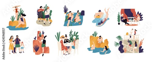 Fototapeta Collection of vacation activities or scenes - people hiking, swimming, sunbathing, diving, sightseeing during summer adventure trip or journey. Colorful vector illustration in flat cartoon style. obraz
