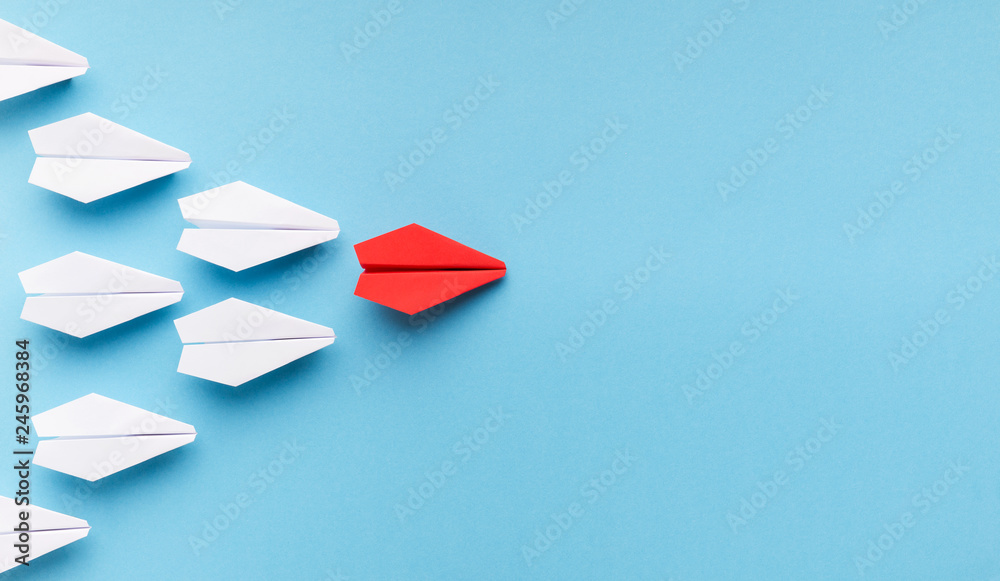Fototapety, obrazy: One blue paper plane leading group of white ones